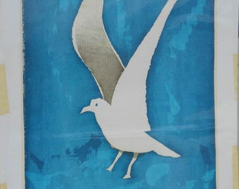 vintage linocut print signed by Maine artist  STELL SHEVIS titled white gull