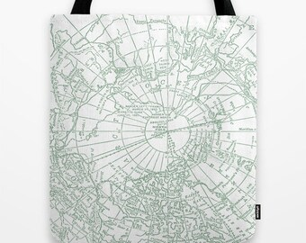 Arctic Map Tote Bag, travel theme green and white bag, grocery farmer's market gift for mom beach bag