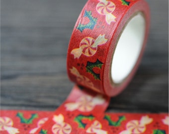 Peppermint  Candies and Holly, Washi Tape