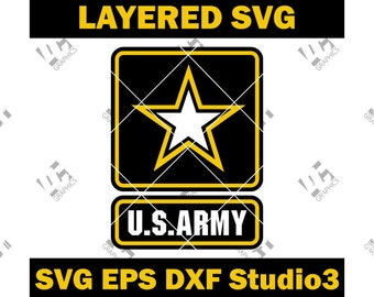 United States US Army Logo - Cutting Cut File SVG, EPS, Dxf, and Studio3 - Cricut, Silhouette Cameo Studio - Make The Cut - Instant Download