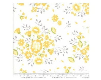 Pepper Flax~Floral Summer Blooms White Cotton Fabric By Moda