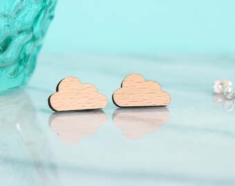 Wood Boho Cloud Earring Studs
