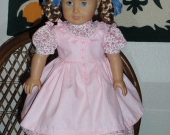 1850s Pioneer Prairie Dress and Pinafore Apron for American Girl Kirsten or other 18 inch doll