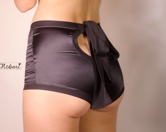 High waist silk satin panties -  Boudoir lingerie black or off-white