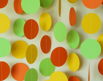 Orange, Lime Green and Yellow Garland, Summer Birthday Decoration, Baby Shower Garland, 10 ft. strand