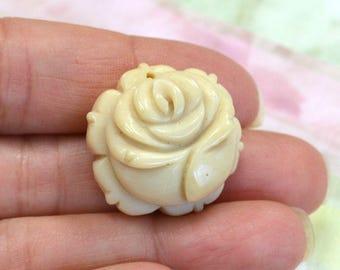 Bone Pendant 30mm Antiqued Carved Rose Flower