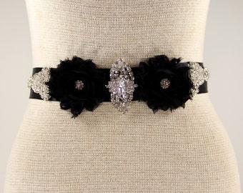 Bridal belt - prom sash, bridal sash - Black satin sash, Rhinestone Crystal Wedding Sash - Black Rhinestone Bridal Sash, wedding dresses