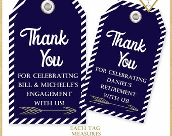 Personalized Navy Blue and Silver Thank You Tags:Printable Tags, Retirement Party Tag, Engagement Party Favor Tag, Birthday Tag, #6218