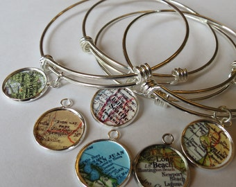 Gift for Grad, military wife, Travel Bracelet, gift for sister, personalized jewelry, Bracelet for mom, Mother Daughter Gift, graduate gift