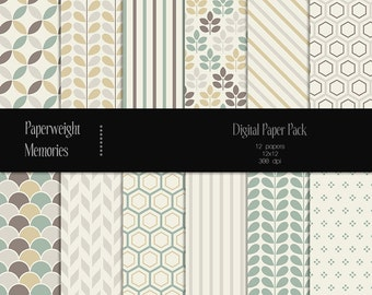 Muted Pearls - digital patterned paper - Instant Download -  digital scrapbooking - Commercial use