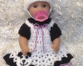 12 Inch Panda bear Doll Clothes for the Panda Bear lover. Included is Dress,hat and Shoes For a 12 Inch doll