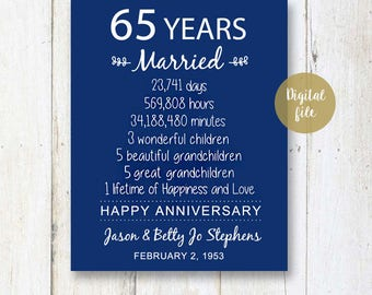 65th wedding anniversary Gift for Parents - 65 years Wedding Anniversary - Navy Anniversary Print - DIGITAL file!