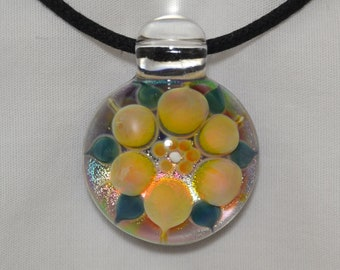 Glass Dichro Flower Pendant