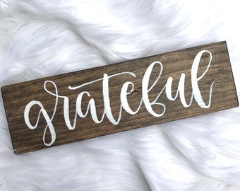 Grateful // Hand Lettered // Wood Sign // 12x4 // Modern Calligraphy