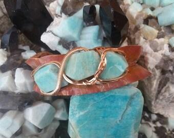 Amazonite stone cuff bracelet, copper fold form