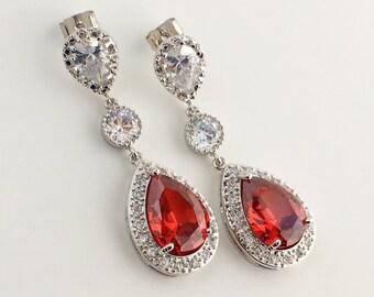 Red Bridal Earrings Ruby Cubic Zirconia Drop Earrings Red Wedding Earrings Red Teardrop Earrings Red Crystal Earrings Red Bridesmaid Jewelry