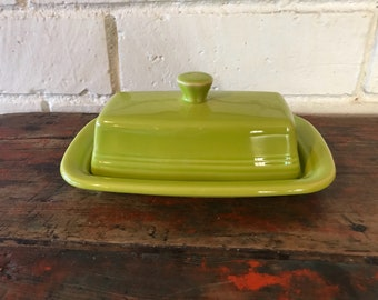 Fiestaware Lemongrass Butter Dish Green XL Extra Large Butter Dish Green 1st Quality