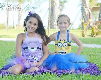 MADE UPON ORDER! | Minion Tutu Dress & Bow Set | Yellow and Blue | sizes 2T to 6X