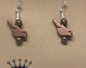 E1848: Bronze Robin Bird Dangle Earrings with Silver