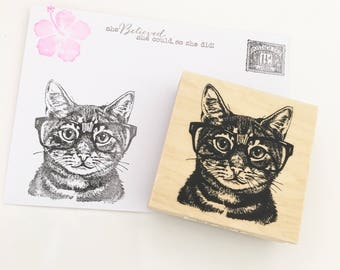Nerdy Cat Wood Rubber Stamp