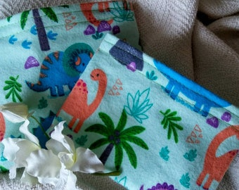 """Child Snack Bags, Reusable Sandwich Bags, Eco Friendly Bags, Grab Bag Gift, Party Favor, """"Lots of Colorful Dinosaurs!"""""""
