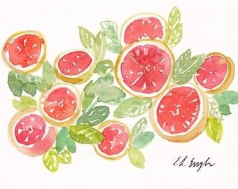 watercolor fruit painting, original watercolor art, 5x7, citrus, kitchen decor,grapefruit painting,still life,watercolor grapefruit,fine art