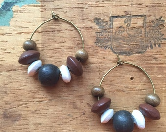 Everyday Style, Perfect Affordable Christmas Gift! WOMEN'S EARRINGS, Brown, Black, White, Wood, Brass, Lightweight, 25mm, Fashion Statement!