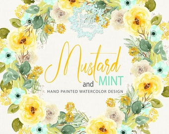 Watercolor Mustard and Mint Flower Clip Art Hand Drawn Flowers wreaths