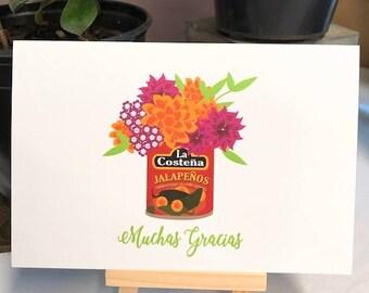 Muchas Gracias - Thank You - Thank You Card - Flowers - Flores - Tarjeta de Gracias