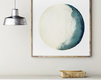 Moon Illustration Navy Blue Turquoise Yellow Crescent Moon Phase Painting, Bedroom Watercolor Art Print, Square Big Living Room Wall  Decor