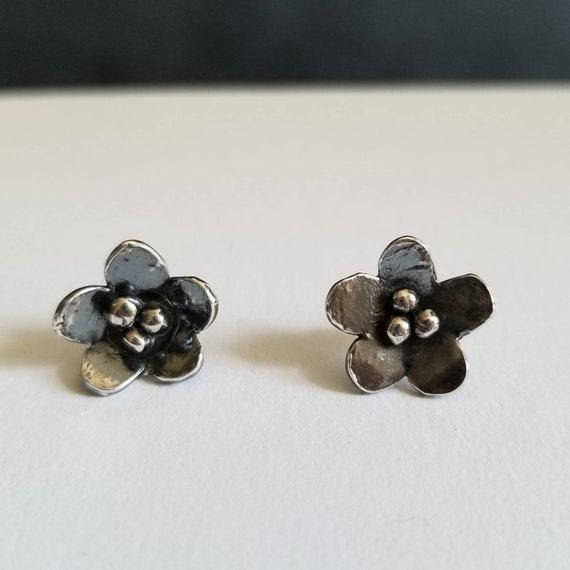 Sterling Silver Flower Post Earrings, Floral Stud Earrings, Silver Earrings, Made in Canada