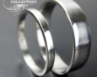 Hand Forged Recycled Palladium Wedding Ring Set With Matte