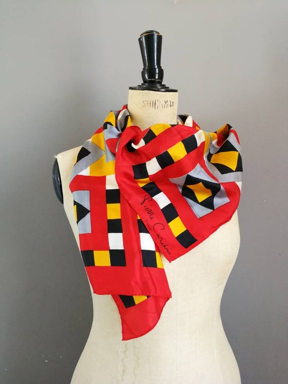 Pierre Cardin scarf / vintage Pierre Cardin / 80s designer scarf / red pattern scarf / colour blocking / vintage neck scarf / red scarves