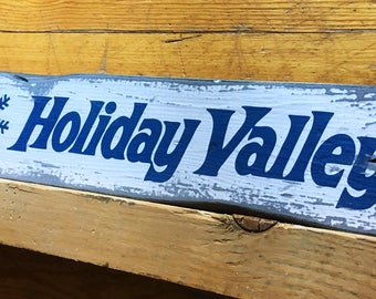 Holiday Valley Ski Resort Sign, Handcrafted Rustic Wood Sign, Ski Resort Sign, Mountain Decor for Home and Cabin, 1134