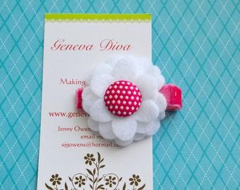 Hot Pink and White Polka Dot Felt Flower Clip