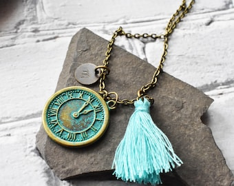 Custom Stamped Tag Jewelry- Patina Clock Blue Tassel Necklace- Antique Brass Initial Personalized Jewelry