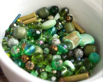 Green destash Bead Mix #18 - 100 grams - vintage enamel, glass, greek ceramic, mop