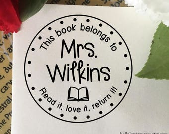 This Book Belongs To Stamp, Read it, Love it, Return it Stamp, Classroom Stamp, Self Inking Stamp, Book Stamp, Custom Teacher Name Stamp