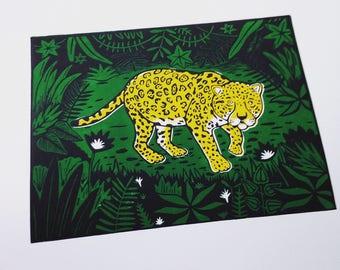 Jungle Jaguar - Lino Print