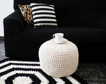 Off White/ White Knitted Pouffe, Cream Round Ottoman, Footstool Nursery Pouf, Floor Pillow, Parents Wedding Gift