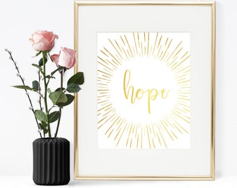 Hope quote, Peace hope joy , Christmas quote, Gold foil quote