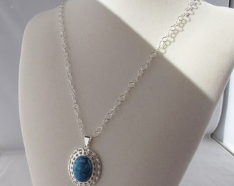 Blue Lace Agate Pendant on Silver Plated Endless Love Chain