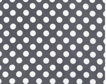 Grey Polka Dot Cotton Fabric -  Spot On by Robert Kaufman Fabrics - Perfect for Nursery, Clothing, and Quilts