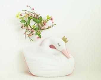 Swan pillow, swan nursery decor, girls room decor, princess decor, swan cushion, kids room decor, baby shower gift, swan bedding, girl gift