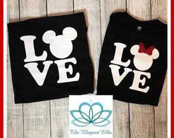 Family Disney shirts, LOVE Mickey and Minnie mouse shirts, Disney family vacation shirts, family shirts