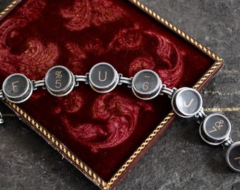 Typewriter Key Bracelet jewelry vintage antique original buttons retro black cream white up cycled recycled assemblage