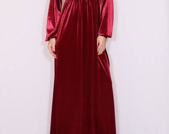 Red velvet maxi dress / Long sleeve dress / Empire waist dress / Maternity dress / Boho dress