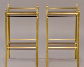 Pair of Mid-Century Brass and Glass Side Tables