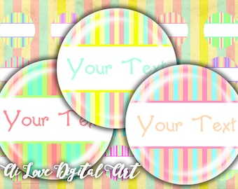 Instant download digital collage sheet, editable bottle cap images 1 inch circle digital download cabochon, PASTEL STRIPED, jewelry making
