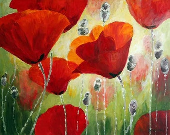 Red Flowers, Red Home Decor, Flower Painting, Abstract Flowers, Red Poppy, Red Wall Art, Poppy,  Floral wall art, Poppy Painting